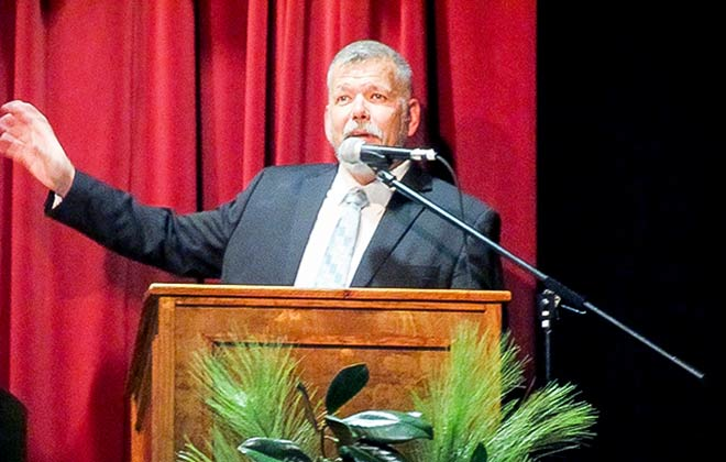 Patrick Clark - First Vice President of the Coldspring-San Jacinto County Chamber of Commerce welcomed  attendees to the Fifth Annual Best of San Jacinto County Awards Banquet.