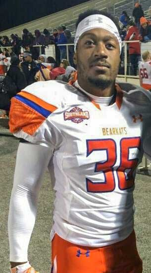Giddens proudly wears the Bearkat uniform for Sam Houston State Univerisity.